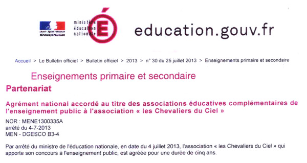 AGREMENT MINISTERE EDUCATION NATIONALE